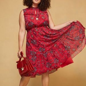 NWOT Modcloth Red Floral Ruffled High Neck Dress